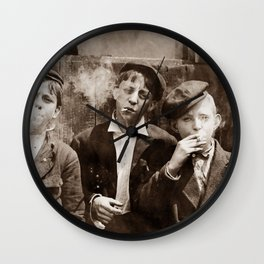 Newsboys Smoking - 1910 Child Labor Photo Wall Clock