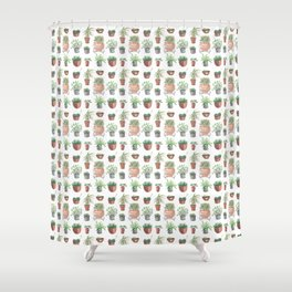 pots hand drawn pattern Shower Curtain