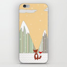 Winter in the Air, Woodland Animals Landscape, Itaya iPhone Skin