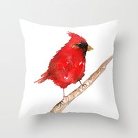 craftberrybush Throw Pillows featuring Red cardinal  by craftberrybush