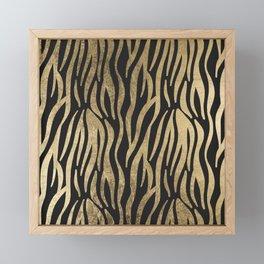 Modern elegant black faux gold trendy zebra animal print Framed Mini Art Print