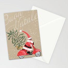 Elfin Santa Claus on his vintage Vespa Stationery Cards