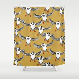 Atlantic Puffins gold Shower Curtain