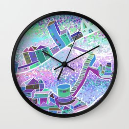 Mountain Villages - blue Wall Clock