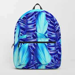 Retro Tropical Leaves in Blue Backpack