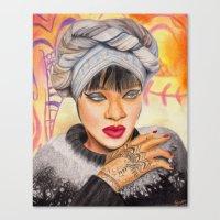 rihanna Canvas Prints featuring RIHANNA by Share_Shop