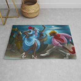 African American Masterpiece 'Rumba' Landscape Painting Rug