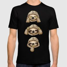 No Evil Sloth MEDIUM Black Mens Fitted Tee
