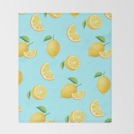 Lemons on Blue Throw Blanket