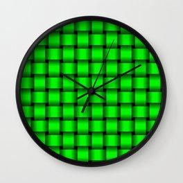 Neon Green Weave Wall Clock