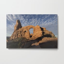 First Sun on Turret Arch, Arches National Park Metal Print