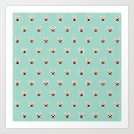 Fawn Frenchie Black Mask French Bulldog Print Pattern on Mint Green Background Art Print
