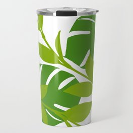 Simply Tropical Leaves with White background Travel Mug