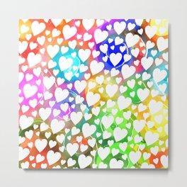 Watercolour Heart Pattern Metal Print