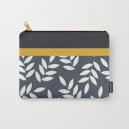 Leaves Pattern in Black Grey nad Yellow Carry-All Pouch