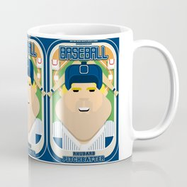 Baseball Blue Pinstripes - Rhubarb Pitchbatter - Sven version Coffee Mug