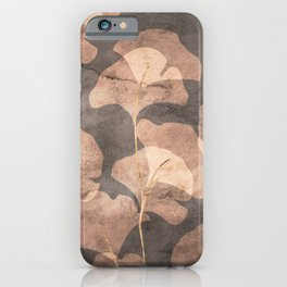 Ginkgo Leaves Rose Gold Brown iPhone Case