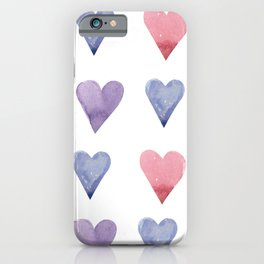 Watercolor Hearts iPhone Case