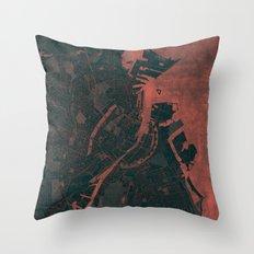 Copenhagen Map Red Throw Pillow