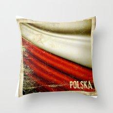 STICKER OF POLAND flag Throw Pillow
