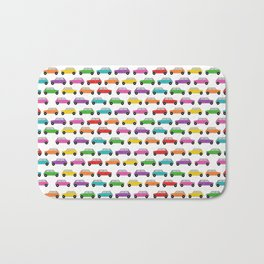 Vintage Mini Cars in rainbow colors Bath Mat