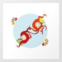 Tangerine and Talli the twins  Art Print