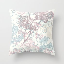 Spring morning field. Abstract floral pattern Throw Pillow