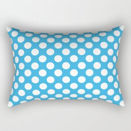 White Polka Dots with Blue Background Rectangular Pillow