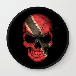 Dark Skull with Flag of Trinidad and Tobago Wall Clock