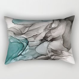 Smoky Grays and Green Abstract Flow Rectangular Pillow