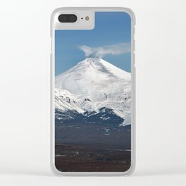 Avachinsky Volcano and Kozelsky Volcano, panorama view of volcanoes of Kamchatka Peninsula Clear iPhone Case