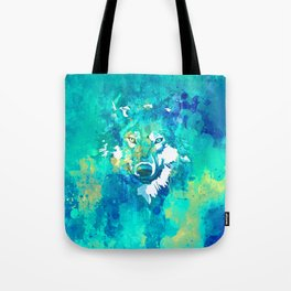 Teal yellow hand painted watercolor wolf Tote Bag