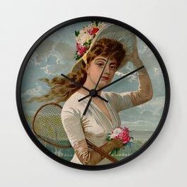 Vintage Victorian tennis girl Wall Clock