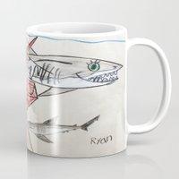 nursery Mugs featuring Shark Nursery by Ryan van Gogh