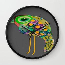 little green eyed boho bird Wall Clock