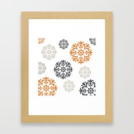 Flowers in Grey and Mustard Framed Art Print