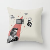 knitting Throw Pillows featuring Knitting by Andrea Eedes
