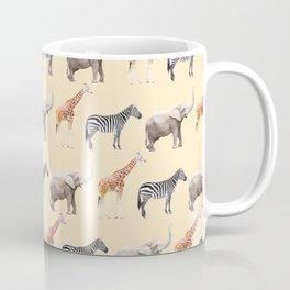 Animals, Elephant, Giraffe, Zebra, Zoo, Kids, Nursery, Minimal, Pattern, Modern art Coffee Mug