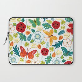 Butterly Garden on White Laptop Sleeve