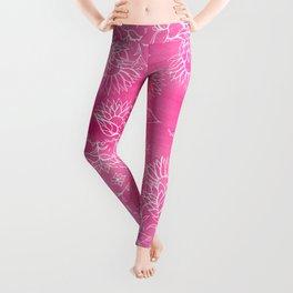 Elegant hand drawn floral pattern pink watercolor Leggings