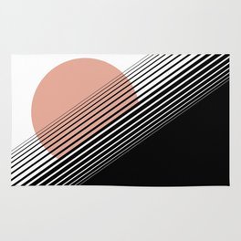 Rising Sun Minimal Japanese Abstract White Black Rose Rug