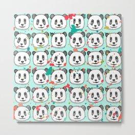 splatter pop panda cookies mint Metal Print