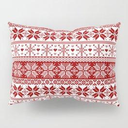 Red Winter Fair Isle Pattern Pillow Sham