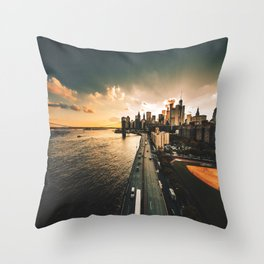 nyc skyline at dusk Throw Pillow
