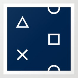 Playstation Controller Pattern - Navy Blue Art Print
