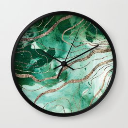 Liquid Marble Glitter Glam #1 (Faux Glitter) #decor #art #society6 Wall Clock