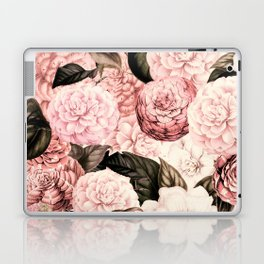 Vintage & Shabby Chic Pink Floral camellia flowers watercolor pattern Laptop & iPad Skin
