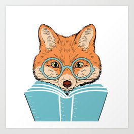 Reading Fox - White Background Art Print