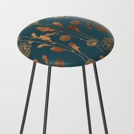 Art Deco Copper Flowers  Counter Stool
