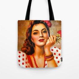 Mexican Sevillana Calendar Girl by Jesus Helguera Tote Bag